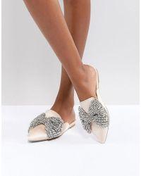 Betsey Johnson - Embellished Flat Wedding Mules - Lyst