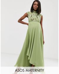 ASOS Asos Design Maternity Midi Dress With Mirrored Embellished Bodice-green