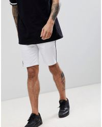 ASOS - Design Slim Shorts In White With Black Piping - Lyst