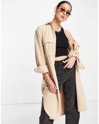 Weekday Bess Oversized Longline Fleece Overshirt - Brown