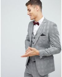 French Connection Skinny Suit Jacket In Pow Check - Grey