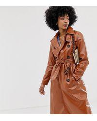 Warehouse Светло-коричневый Лакированный Тренч