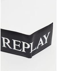 Replay Portefeuille à double volet et à logo - Noir