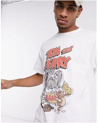 New Look Белая Oversized-футболка С Принтом «tom & Jerry» -белый