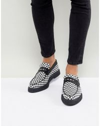 ASOS Asos Loafers In Black And White Checkerboard Print With Creeper Sole