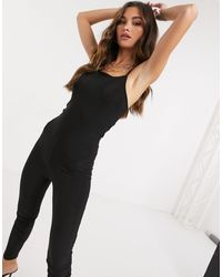 Fashionkilla Cami Strap Catsuit With Ruched Bum Detail - Black