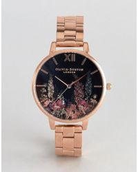 Olivia Burton - Ob16wg45 Dark Bouquet Bracelet Watch In Rose Gold - Lyst