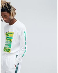 adidas Originals Long Sleeve T-shirt With Sleeve Print In White Cf5813