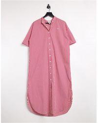 Lacoste Vertical Stripe Maxi Shirt Dress - Multicolour