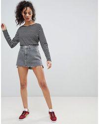 Wrangler Denim Mini Skirt With Raw Hem - Gray