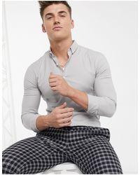 New Look Серая Оксфордская Обтягивающая Рубашка С Длинными Рукавами -серый