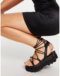 ASOS Trent Tie Leg Flatform Sandals - Black