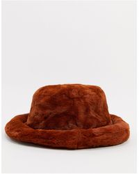 ASOS Fluffy Faux Fur Bucket - Orange