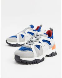 SELECTED Chunky Trainers With Contrast Panels-white - Blue