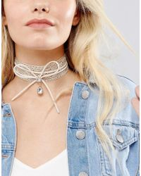 New Look - Metallic Lace And Bow Choker - Lyst