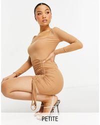 Missguided - Бежевое Платье Мини С Присборенной Драпировкой Спереди -коричневый Цвет - Lyst