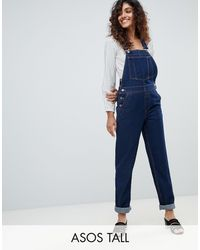 ASOS ASOS DESIGN Tall - Salopette di jeans rinse wash - Blu