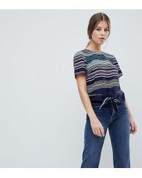 Oasis - Rainbow Striped Tie Front T-shirt - Lyst