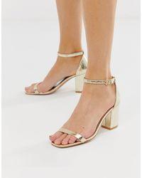 Glamorous Block Heel Sandals - Metallic
