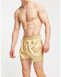ASOS – Boxershorts aus Satin mit Knopfverschluss - Mehrfarbig