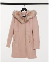 Forever New Manteau avec capuche en fausse fourrure - Grège - Multicolore