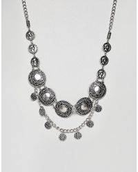 ASOS - Design Festival Style Statement Bib With Coins In Burnished Silver - Lyst