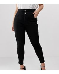 Simply Be Shape & Sculpt Extra High Waist Skinny Jeans In Black