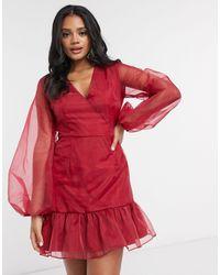 Missguided Красное Платье Из Органзы С Пышными Рукавами -красный