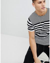 Mango - Man Striped T-shirt In Black And White - Lyst