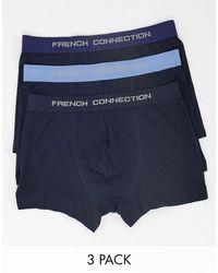 French Connection Набор Из 3 Синих Боксеров-брифов -синий