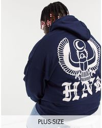 Honour HNR LDN Plus – er Kapuzenpullover mit Adler-Motiv auf der Rückseite - Blau