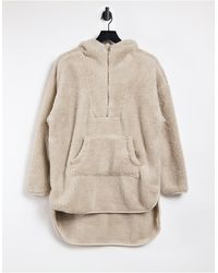 ONLY Teddy Hoodie With Zip Neck - Natural