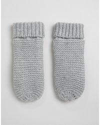 Pieces Rib Knitted Mitten - Gray