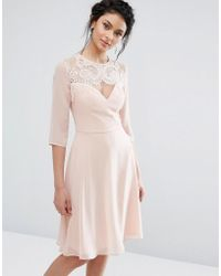Elise Ryan - Lace Sweetheart Midi Dress With 3/4 Sleeve - Lyst