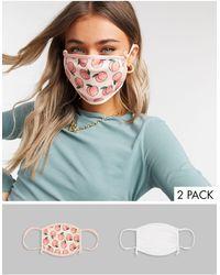 Skinnydip London Confezione da 2 mascherine con laccetti regolabili bianco tinta unita e con pesche - Multicolore