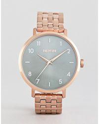 Nixon - A1090 Arrow Bracelet Watch In Rose Gold/green - Lyst