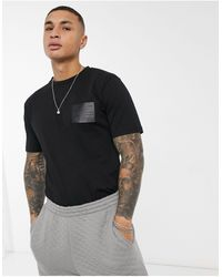 Jameson Carter Leighton Leather Patch T-shirt - Black