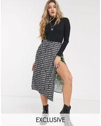 Reclaimed (vintage) Falda tipo combinación con estampado variado - Multicolor