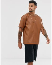 Another Influence Pu Faux Leather T-shirt - Brown