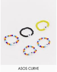 ASOS Asos Design Curve Pack Of 5 Rings With 'happy' Stretch Bead Design - Multicolor