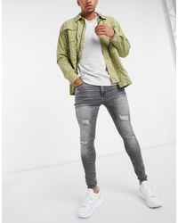 River Island Spray On Ripped Jeans - Gray