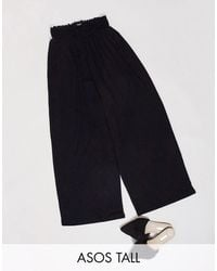 ASOS Asos Design Tall Culotte Trouser With Shirred Waist - Black