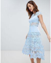 Bronx and Banco Bronx & Banco Applique Midi Sky Dress - Blue