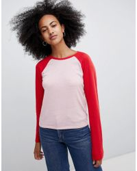 Monki - Baseball Top In Red And Pink Color Block - Lyst