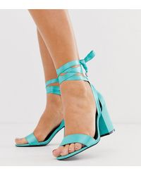 ASOS - Wide Fit Howling Tie Leg Block Heeled Sandals In Turquoise - Lyst