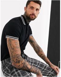 ASOS Tipped Pique Polo Shirt - Black