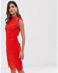 Chi Chi London Scallop Lace Pencil Dress - Red