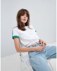 ASOS - Contrast Crop T-shirt With Elasticated Hem - Lyst