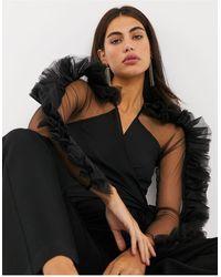 Forever Unique Черная Блузка С Запахом И Оборками -черный