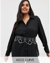 ASOS Asos Design Curve - Taille- En Heupriem Met Ringen En Ketting - Zwart